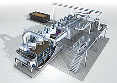 System drawing of a HUBER Belt Dryer BT